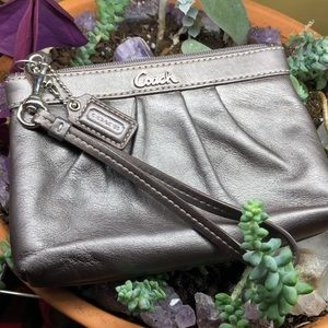 Pewter gray coach wristlet clutch pouch bag wallet